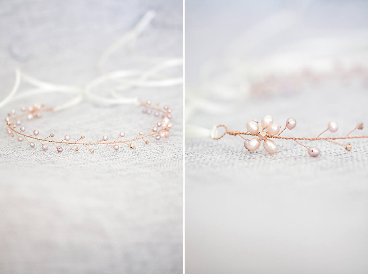Rose gold blush pearl bridal headpieces
