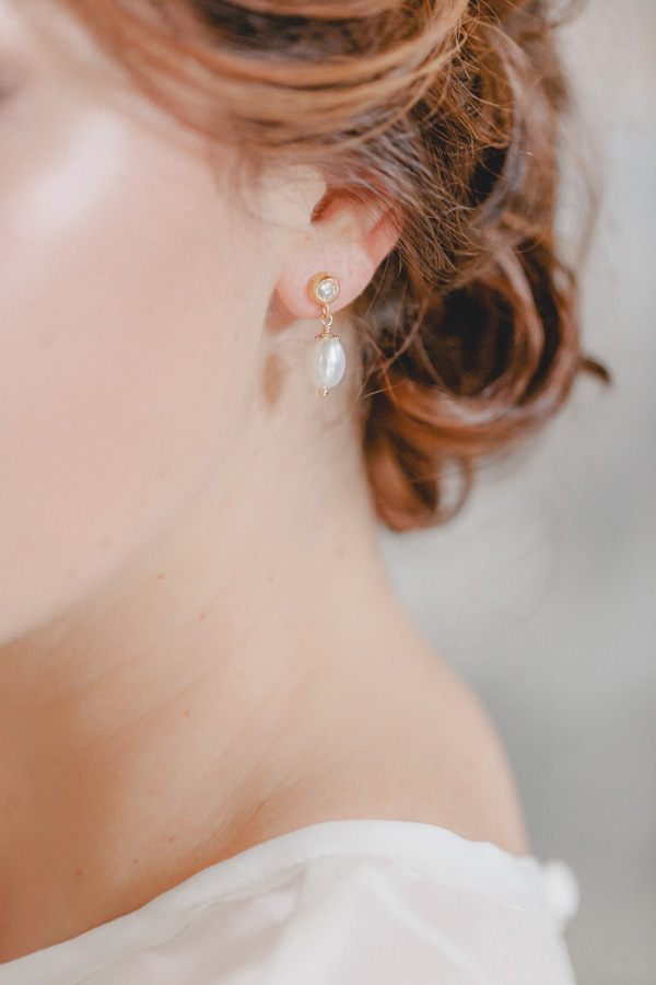 Classically Modern Pearl and Gold Earrings