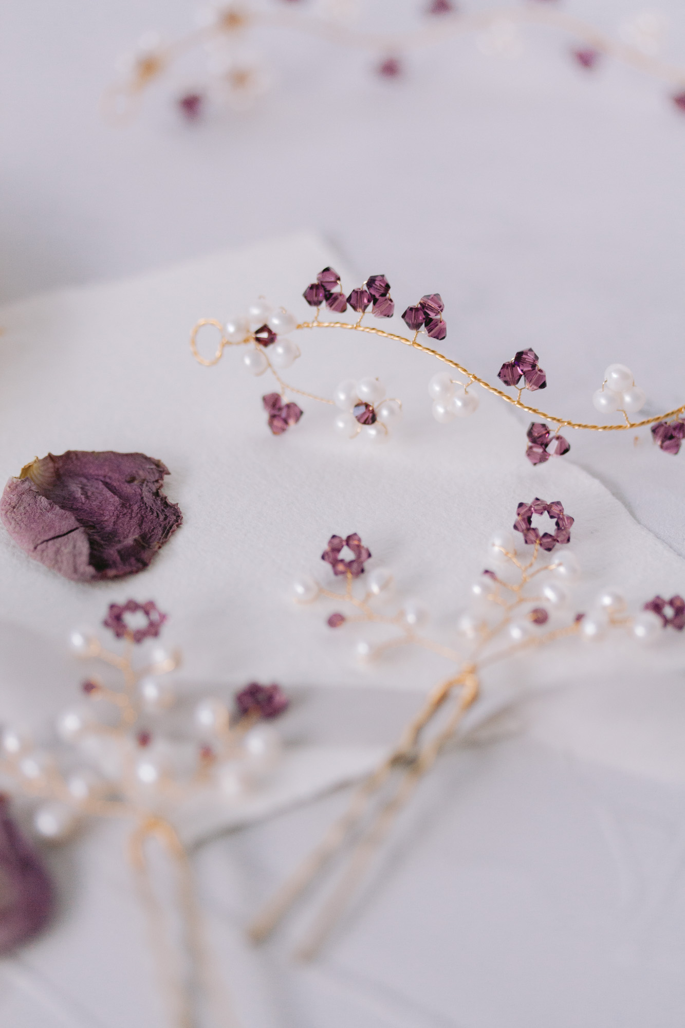 Fine Art bespoke golden hair accessories with pearls and amethyst