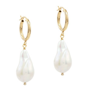 DEW DROPS | hoop earring with baroque pearl