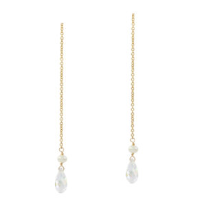 DREAM COUPLE | pull through earrings with crystal drop
