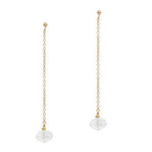 MYSTICAL | long modern bridal earringst with big crystal