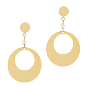 MODERN LOVE | large disc crystal earrings
