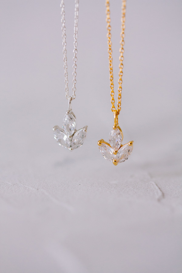 Juvelan Crystal pendant necklace dainty bridal Simply Wonderful